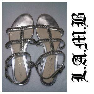 L.A.M.B. Greyson Silver Gladiator Sandals 9.5